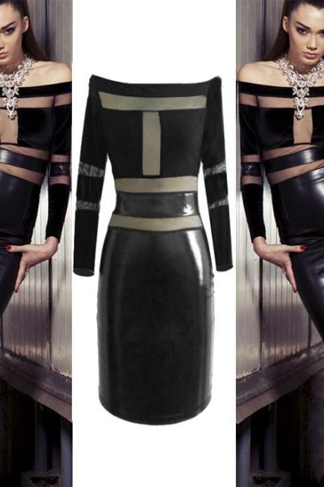 Fashion leather skirt one word led long sleeve package buttocks splicing dress