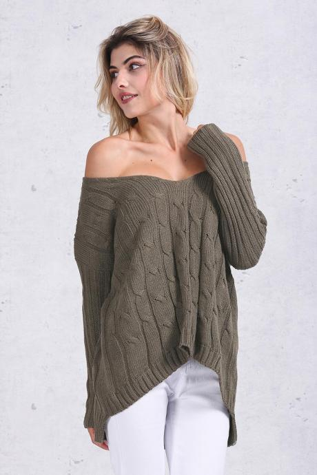 Knitted Off-The-Shoulder Long Sleeves Sweater Featuring Criss-Cross Back